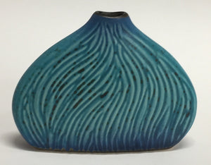 Carved Bud Vase Blue