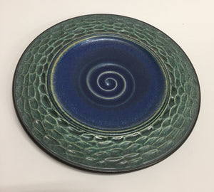 Carved Dimpled Green Plate