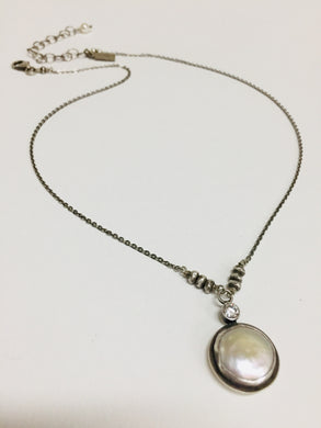 Neck, SS Coin Pearl CZ Accent