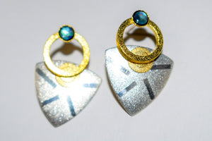 Sterling Silver Post Earrings With Gold Vermeil and Paua Shell