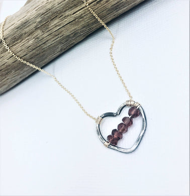 Neck, OX GF Garnet Heart My Beloved