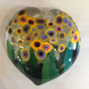 Clear Heart Sunflower Paperweight
