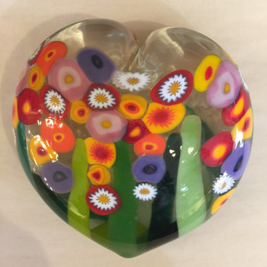 Clear Glass Heart Wildflower Paperweight