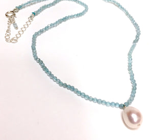 Choker Necklace Blue Topaz With Freshwater Pearl Drop