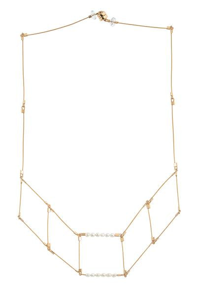 Flexible 5 Square Necklace With Pearl and Gold Fill