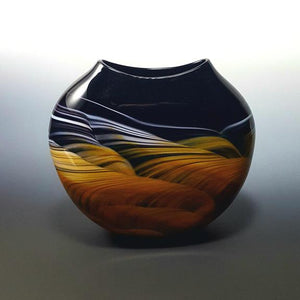 Medallion Vase in Amber Black and White