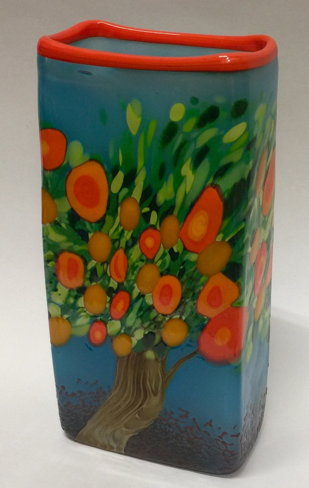 Vase Rectangle Orange Tree