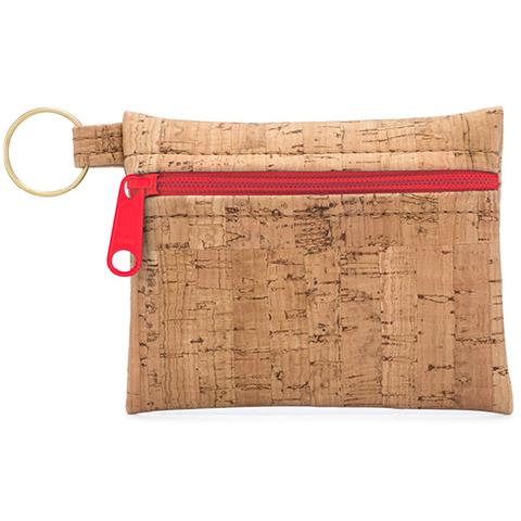 Be Organized Print Key Chain Zip Pouch with Red Zip