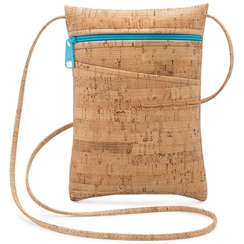 Mini Cork Purse with Aqua Zip