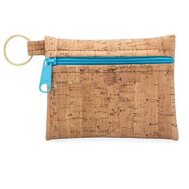 Be Organized Print Key Chain Zip Pouch with Aqua Zip