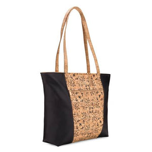 Be Basic Printed Black Floral Large Cork Bag