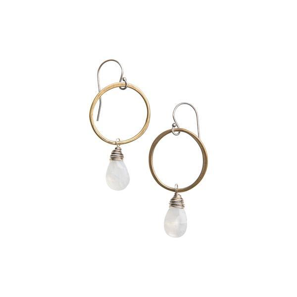 Moonstone Earring in Yellow Bronze