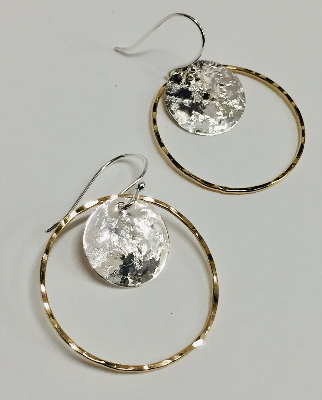 Earring Silver Disk in Gold Ring