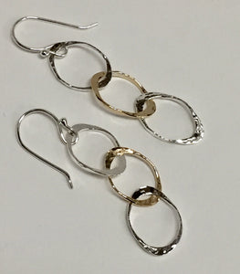 3 Circle Drop Wire Earrings