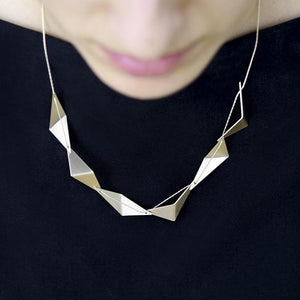 Satin Pleated Short Light Gold Necklace