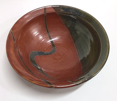 Rust and Green Ceramic Bowl