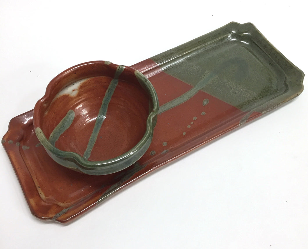 Hors D`Oeuvres Tray With Bowl Rust Green