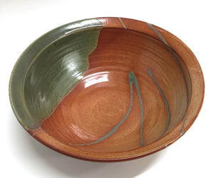 Serving Bowl Rust and Green
