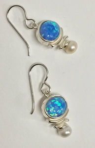 Earring Sterling Silver With Blue Opal Nad White Pearl