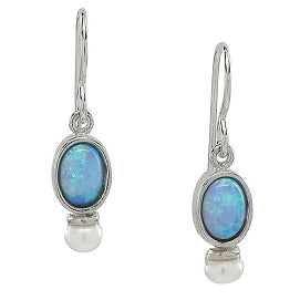 Oval Opal and Pearl Earring