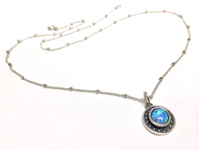 Sterling Silver Necklace With Blue Opal