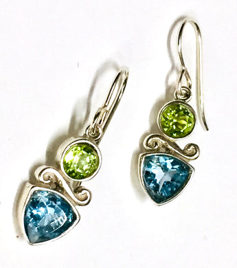 Earring Sterling Silver Blue Topaz and Peridot