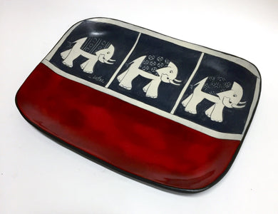 Tray With Hand Painted Elephants