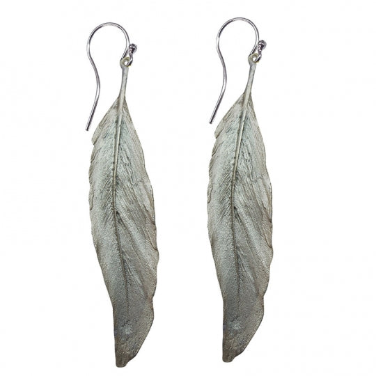Long Silver Finish Feather Earring