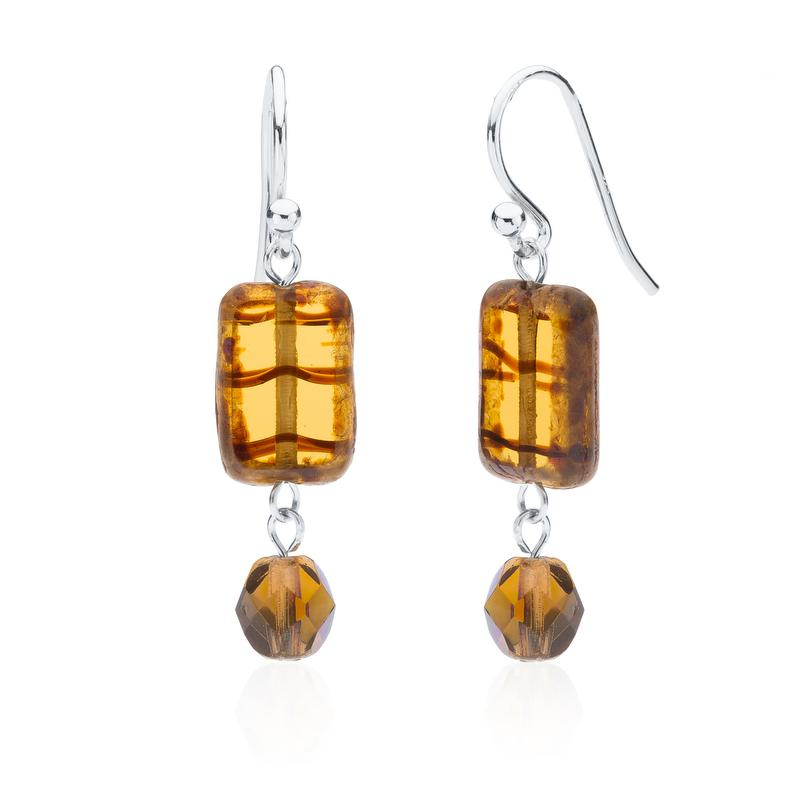 Glass Earring With Crystal Dangle in Amber Tortoise