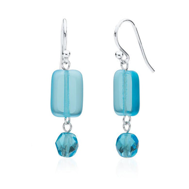 Glass Earring With Crystal Dangle in Seaglass Azul