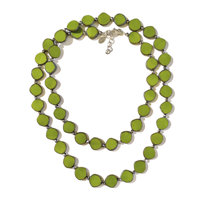 Full Circle Long Glass Necklace in Avocado