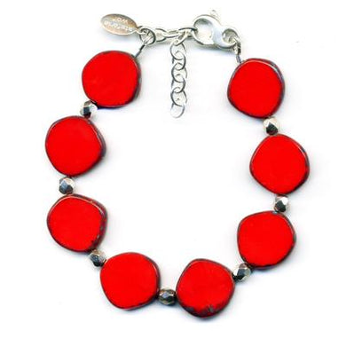 Full Circle Small Glass Bracelet in Red