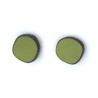 Full Circle Small Stud Glass Earring in Avocado