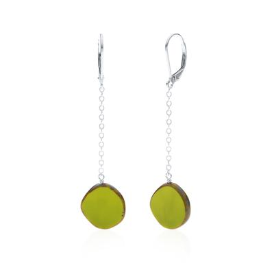 Full Circle Glass Pendulum Avocado Earring