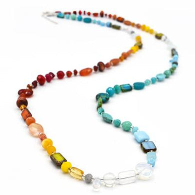 Rainbow Gemstone Medley Convertible Necklace/Bracelet 44 Inches