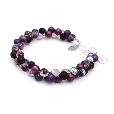 Bubble Glass Bracelet in Purple,Amethyst and Plum