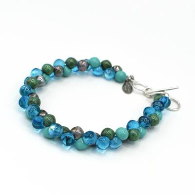 Bubble Glass Bracelet in Turquoise