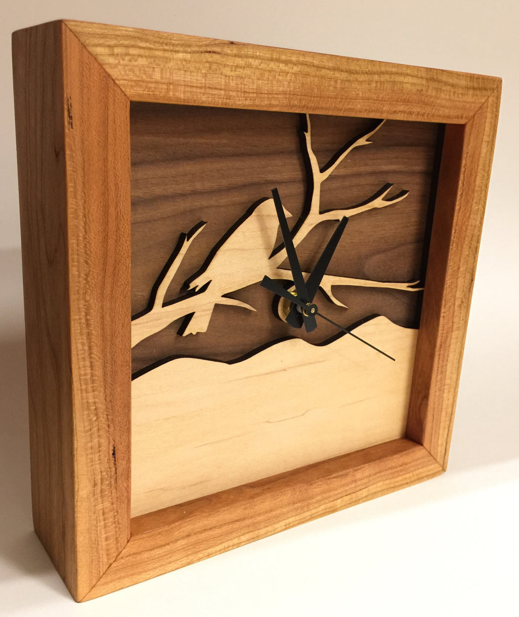 Box Clock With Bird Walnut