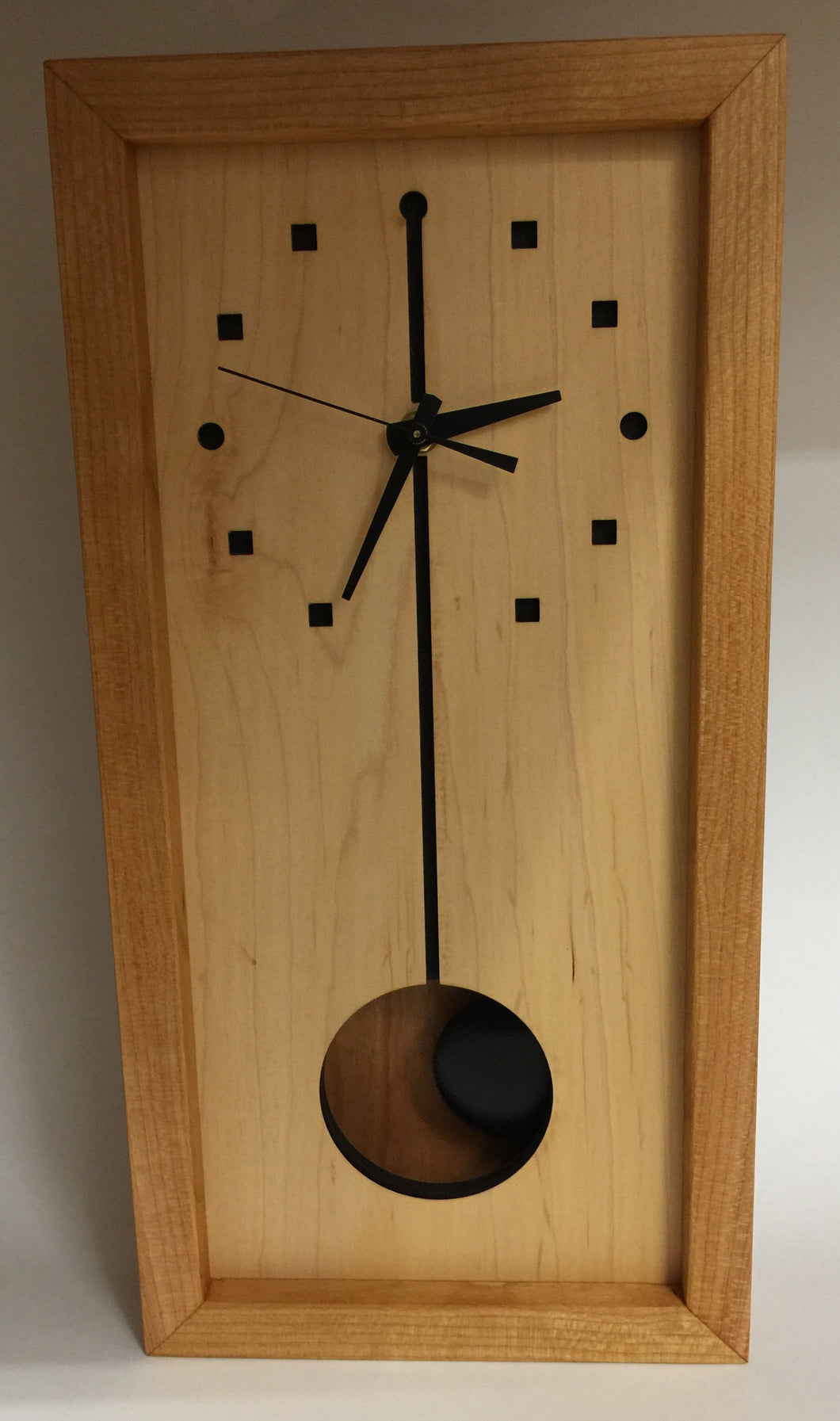 Clock, Tall Box Cherry Sq/Circle Maple