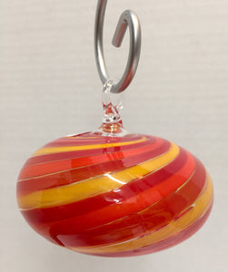 Swirl Ball Red & Yellow Ornament