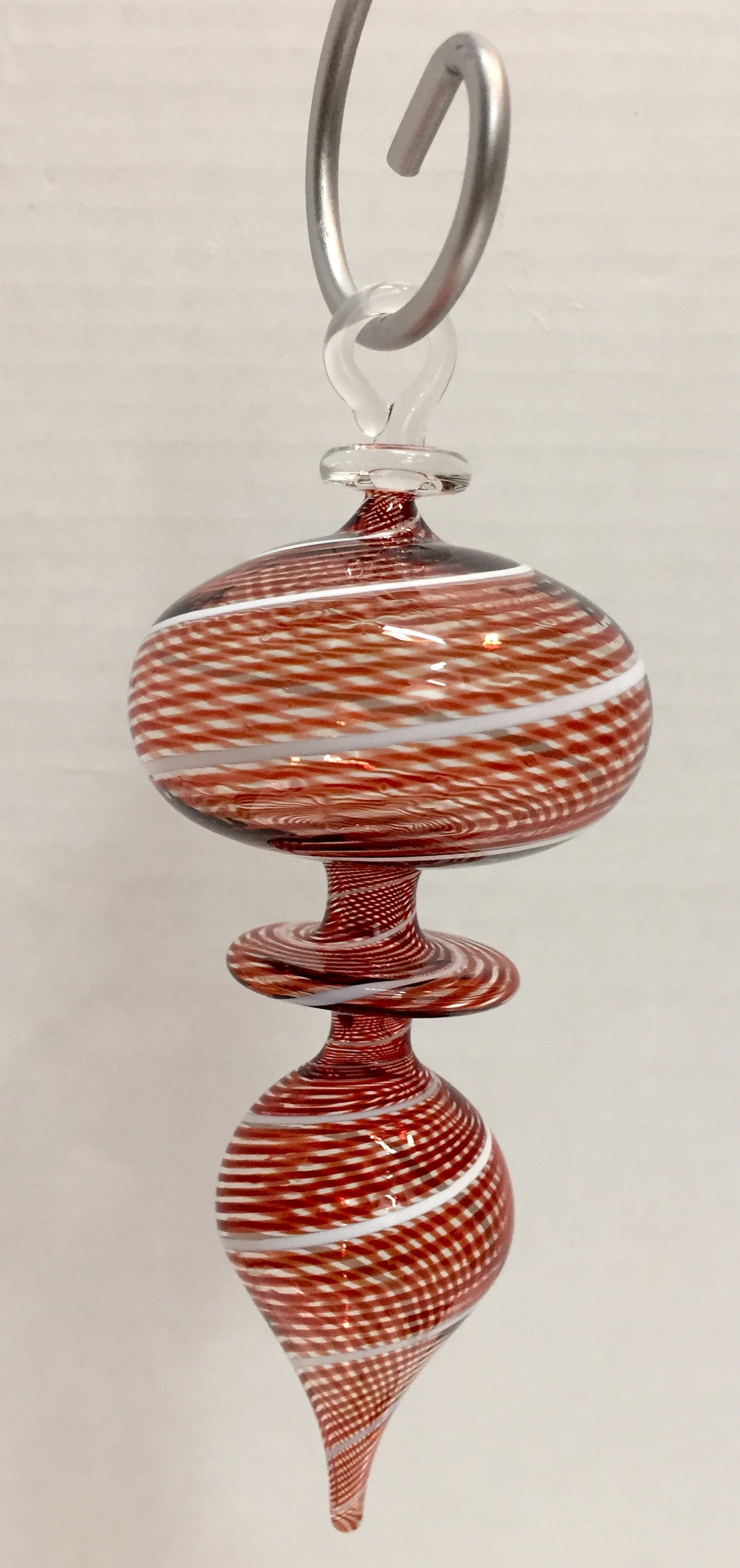 Finial Glass Red and White Striped Ornament