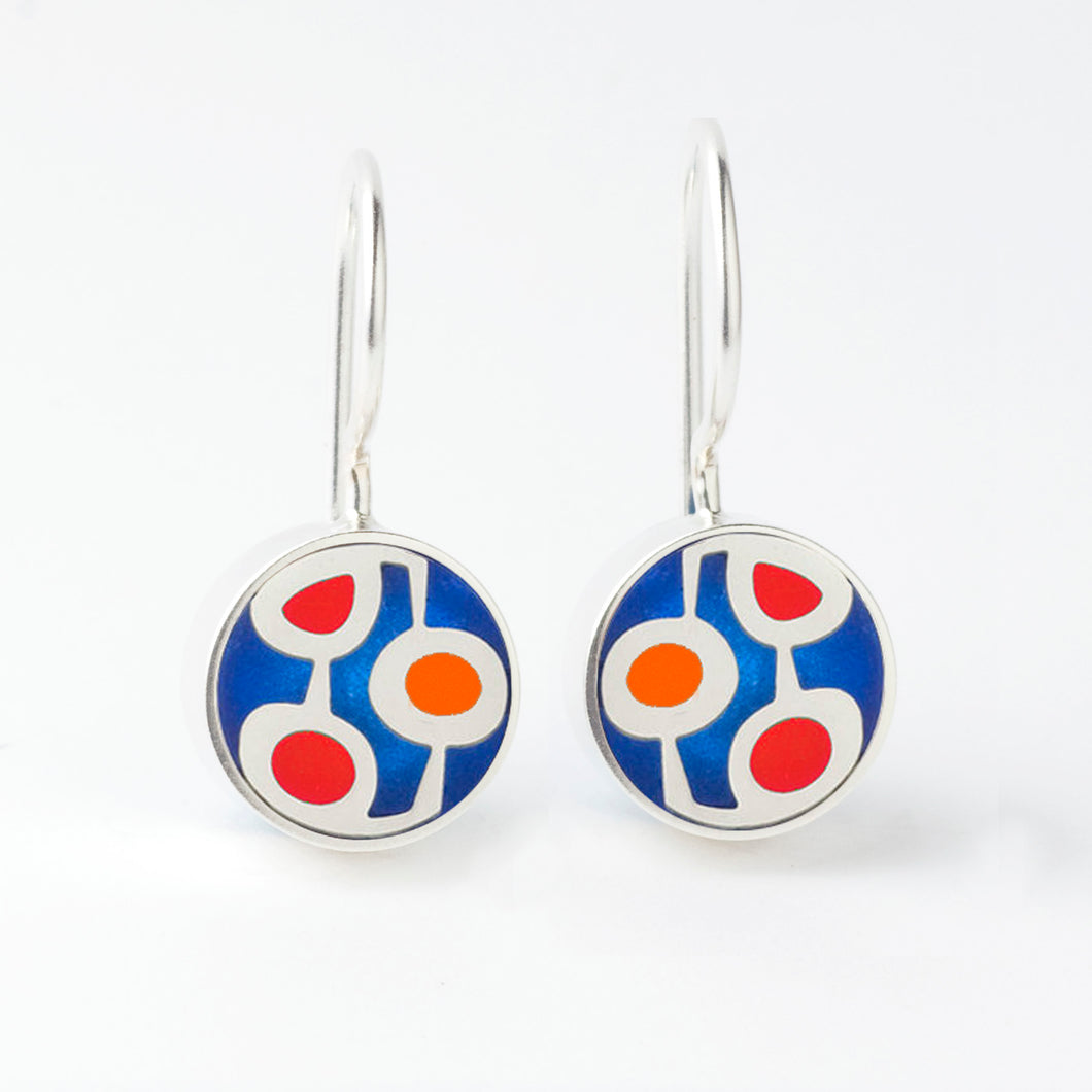 Sterling Silver and Red and Blue Resin Earrings