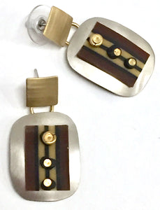 Clay Square Rectangular Drop Post Earring