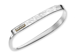 Sterling Silver and 14K Diamond Flip-open Bracelet