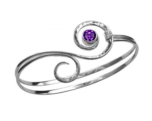 Medium Sterling Silver Fiddlehead Bracelet With Amethyst