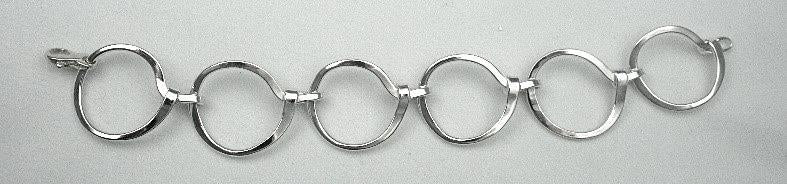 Strerling, Hand Forged Circle Link Bracelet