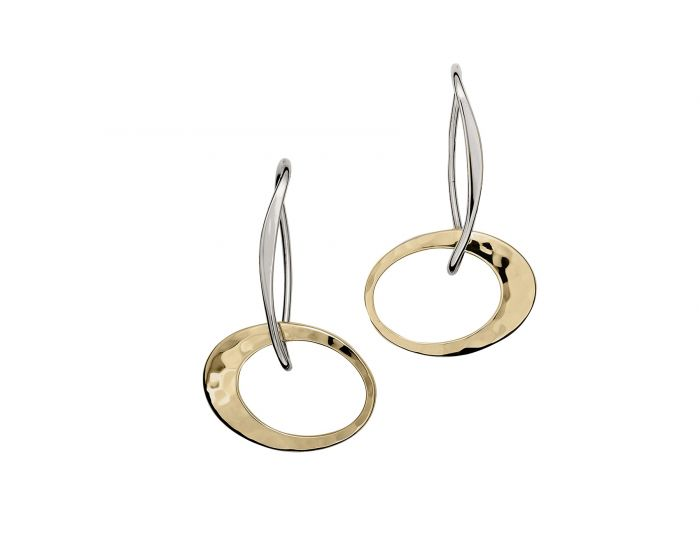 Petite Elliptical Earring Silver With 14K Gold Overlay