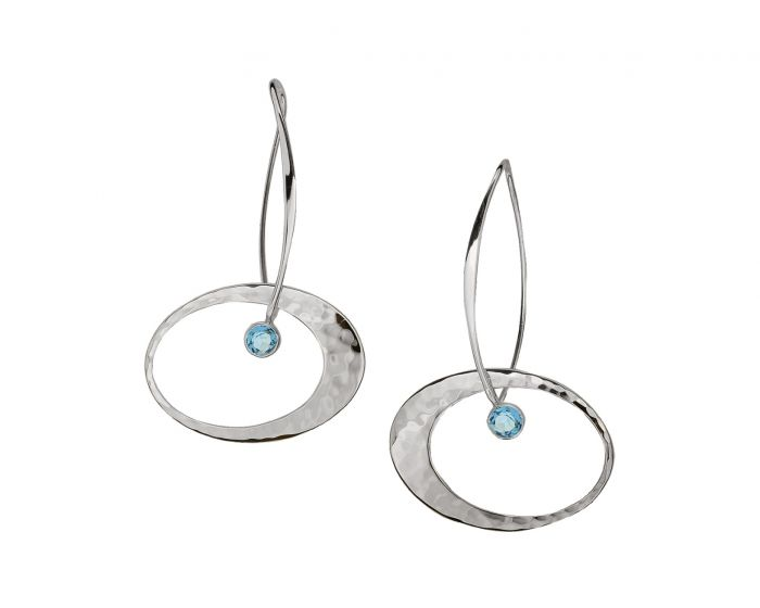Elliptical Elegance Earring Silver With Blue Topaz