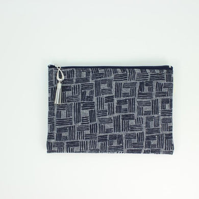 Wallet, Black/Grey Square in Linen