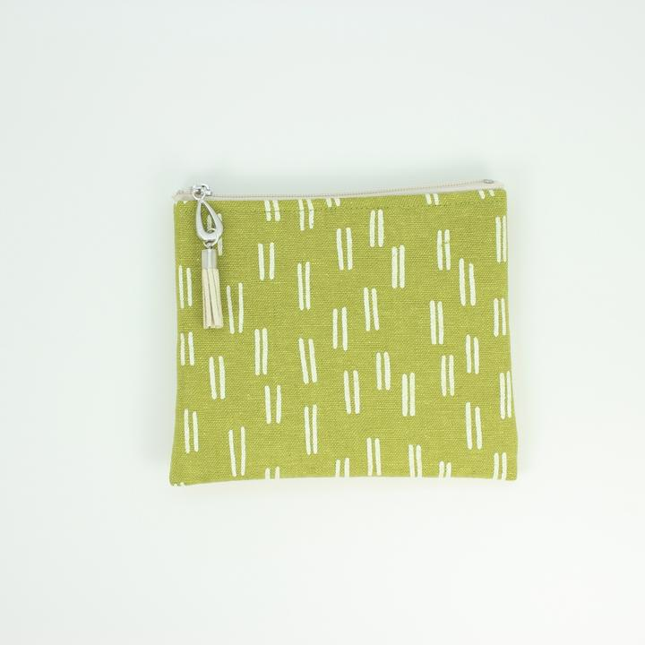 Linen Small Poudn in Green With White Lines
